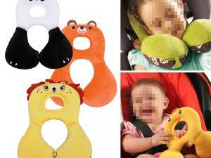 Oreiller en forme de U pour bébé, oreiller de sécurité en U avec housse de protection, oreiller de poussette pour siège de voiture, Support court en peluche pour la tête du cou de bébé
