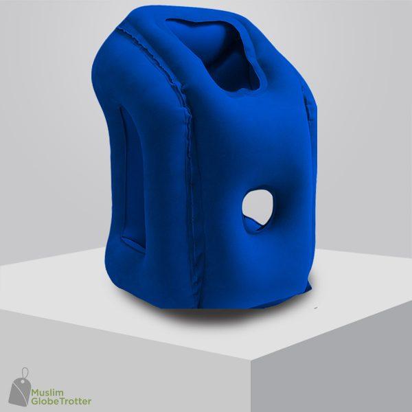 Coussin de voyage gonflable bleu